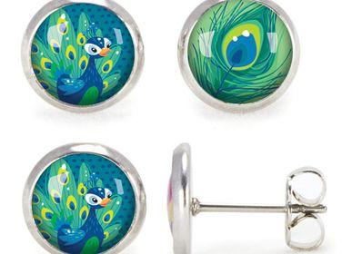 Jewelry - Ears Studs Les Minis Paon / Plume de Paon - LES MINIS D'EMILIE FIALA