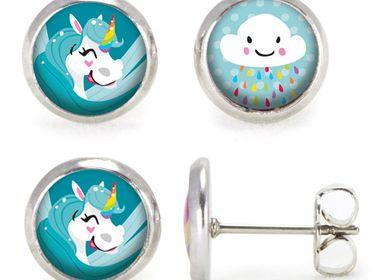 Jewelry - Ears Studs Les Minis Licorne Bleue / Nuage - LES MINIS D'EMILIE FIALA