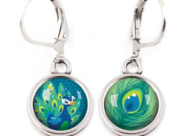 Jewelry - Earrings Les Minis Paon / Plume de Paon - LES MINIS D'EMILIE FIALA