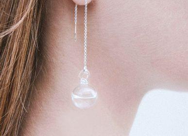 Bijoux - Boucle d'oreille longue gouttelette transparente  - LAJEWEL