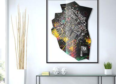 Autres décorations murales - Plan de ville en cuir d'art - Décoration murale - FRANK&FRANK