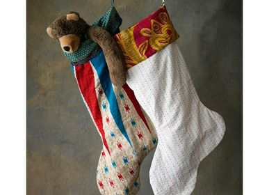Other Christmas decorations - Kantha Christmas Stocking - BASHA BOUTIQUE