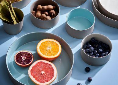 Platter and bowls - Round Cylinder Rock&Aqua Bowls - ESMA DEREBOY HANDMADE PORCELAIN