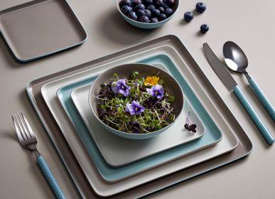 Everyday plates - SQUARE Double Coloured Plate Set - ESMA DEREBOY HANDMADE PORCELAIN