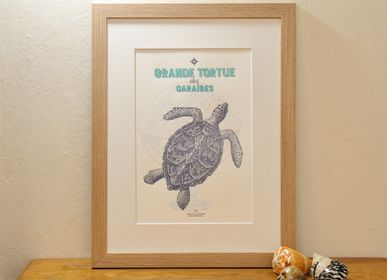 Poster - Art Print Large Turtle from the Caribbean - L'ATELIER LETTERPRESS