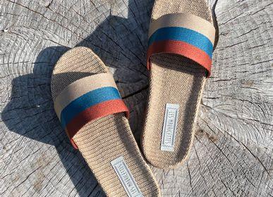 Shoes - Les Mauricettes d'Anatole, striped men's sliders - LES MAURICETTES