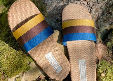 Shoes - Les Mauricettes d'Auguste, striped men's sliders - LES MAURICETTES