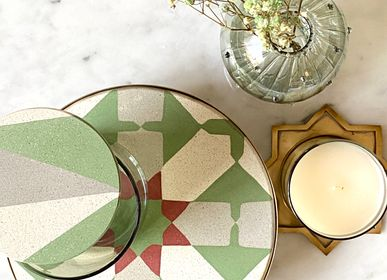 Design objects - Tiled Round Platter Geometric Pattern - ASMA'S CRAFTS