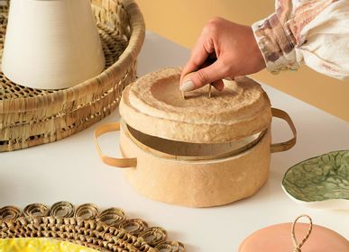 Decorative objects - Paper Clay Storage with Cover (Small) - INDIGENOUS