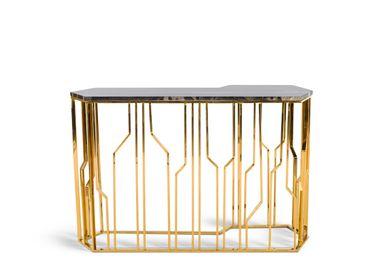 Console table - Ora Copper Console - Grey Marble  - LE NOIR