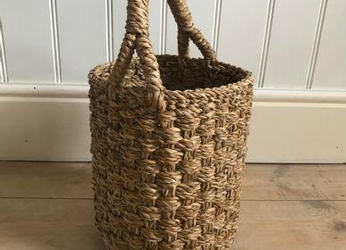 Shopping baskets - Small Round Hogla Chatai Weave Basket - MAISON BENGAL
