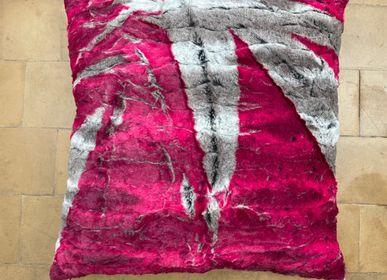 Cushions - Faux fur cushion, grey pink splash - CHRISTOPH BROICH HOME PROJECT
