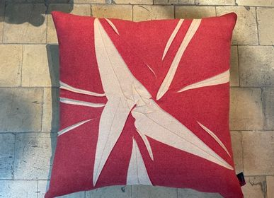 Cushions - Cushion, wool touch, beige, red splash print - CHRISTOPH BROICH HOME PROJECT