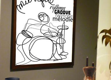 """Affiches - """"MUSIC DRUM""""  Line Art Editions Limitées - L'ATELIER D'ANGES HEUREUX"""