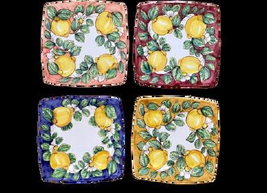 Céramique - Assiettes carrées en céramique peintes à la main 27x27 cm - CERASELLA CERAMICHE