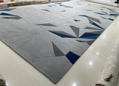 Rugs - Large Oversized Customizable Modern 3D High Low Cut Embossed Silk Handtufted Rug Carpet 17 - INDIAN RUG GALLERY