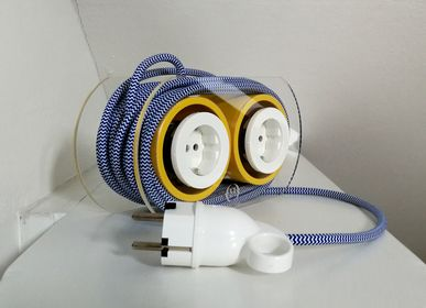 Design objects - Extension Cord for 4 Plugs - Navy & White (& Yellow) - OH INTERIOR DESIGN