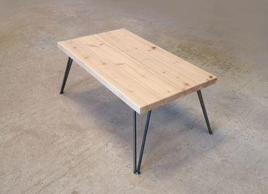 Tables basses - Table basse avec plateau en pin FSC et pieds en V - LIVING MEDITERANEO