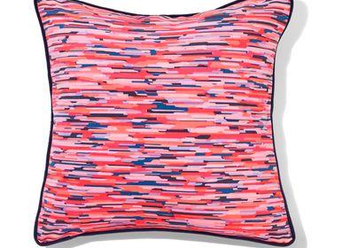"""Cushions - Square cushion """"MOIRÉ"""" red - AMÉLIE CHOQUET"""