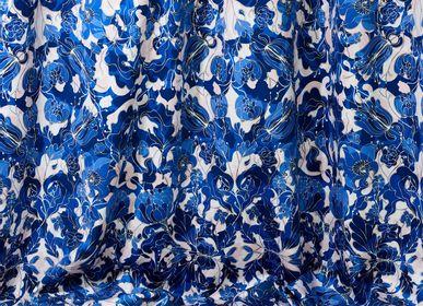 "Upholstery fabrics - Blue ""Au Jardin"" fabrics - AMÉLIE CHOQUET"