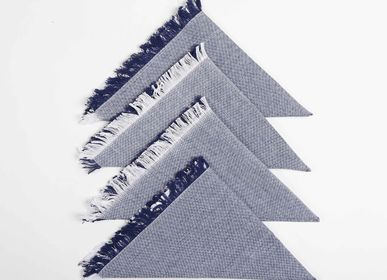 Napkins - Navy cotton table napkins (set of 4) - QALARA