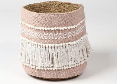 Boîtes de rangement  - Panier de rangement écologique rose poussiéreux avec pompons - QALARA