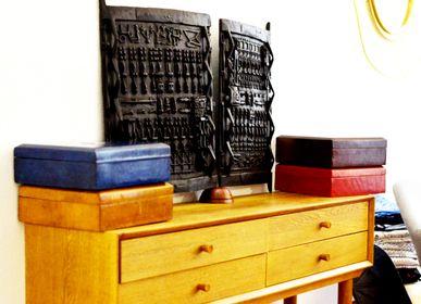 Coffrets et boîtes - Boite à thé touareg en bois et cuir LIPITO - MAISON LAADANI