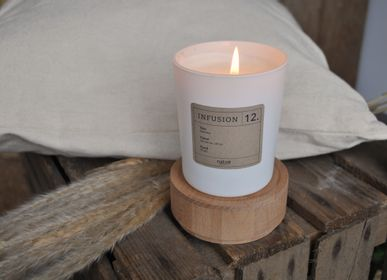 Caskets and boxes - INFUSION CANDLE - N°12 - white candle round wooden case  - NATOÈ FRAGRANCES