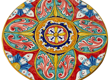 Lawn tables -  Vietri style hand-painted stoneware round table with artistic iron leg diameter 80 cm - CERASELLA CERAMICHE