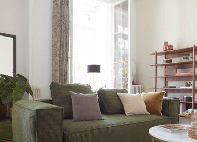 Canapés - Canapé Blok 2 places velours côtelé vert 210 cm - KAVE HOME