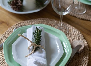 Everyday plates - French green porcelain plate - OGRE LA FABRIQUE