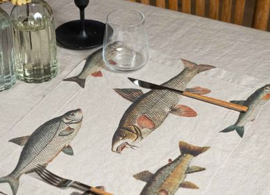 Table linen - Printed Washed Linen Placemats │ FISHES, 2-set - LINOROOM