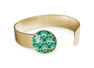 Jewelry - Medium bangle fully gilded with fine gold Les Parisiennes Peacock - LES PARISIENNES D'EMILIE FIALA