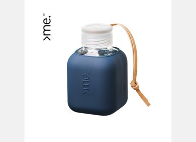 Coffee and tea - SUSTAINABLE SQUIREME. Y2  - The Cube - ENERGIZED HANDMADE PREMIUM QUALITY GLASS BOTTLE (370 ml /13 oz) PORTABLE - SQUIREME.