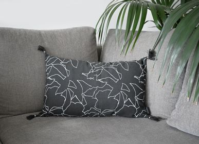 Fabric cushions - Sketch - Charcoal Cotton Cushion Cover 50 x 30 cm - CONSTELLE HOME