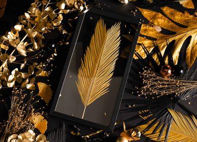 Autres décorations de Noël - Herbier Tropical Cycas - Vieil Or - 30x55 - Encadrement noir - ATELIER GERMAIN