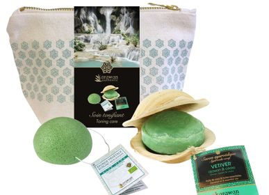 """Gifts - Konjac and ayurveda gift wellness pouches, """"vetiver & aloe vera toning care"""""""" - KARAWAN AUTHENTIC"""