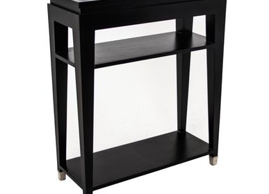 Console table -  Black Glass Top Console Table with 2 Shelves - RV  ASTLEY LTD
