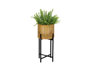 Flower pots - SYNTHETIC RATTAN/METAL PLANTER Ø26X62 AX71527 - ANDREA HOUSE