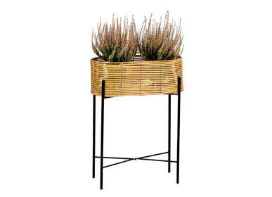 Flower pots - SYNTHETIC RATTAN/METAL PLANTER 49X20X66 AX71529 - ANDREA HOUSE