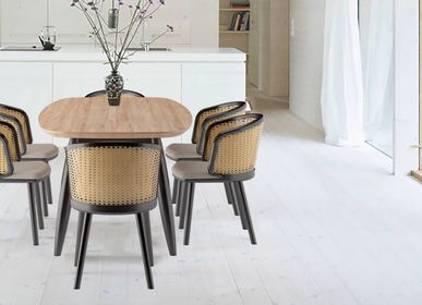 Chairs for hospitalities & contracts - Retro Modern Dining chair Scarlett in Teak wood and natural rattan webbing. - ASINDO LIMITED - EZEÏS