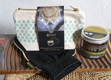 """Gifts - Hammam gift wellness pouches, """"scrub with black soap"""" - KARAWAN AUTHENTIC"""