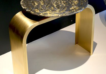 "XAVIER LAVERGNE ATELIERS - Our brass ""Bridge legs"" sideboard table, with a Sunshine board."