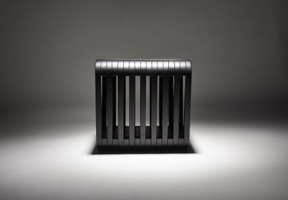 REDA AMALOU DESIGN - STAINED BLACK OAK LINK STOOL