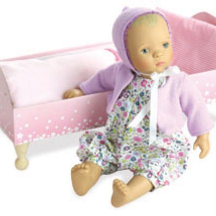 "Toys - Baby doll BIBICHOU 35 cm ""FLEUR"" in her little bed - VILAC-PETITCOLLIN-JEUJURA"