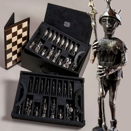 Sculptures / statuettes / miniatures - bronze chess set in luxury case with folding board - TOULHOAT