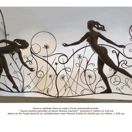 "Outdoor space equipment - Handrail with"" Woman running"" and ""Woman leaning"" - POTHIN GALLARD CRÉATION BRONZE"