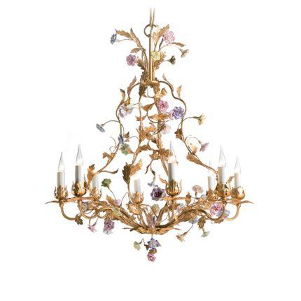 Decorative objects - Chandelier with Saxe porcelain - BAGUES-BRONZES DE FRANCE