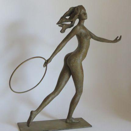 """Sculptures / statuettes / miniatures - """" Jeune femme courant avec cerceau"""" - POTHIN GALLARD CRÉATION BRONZE"""