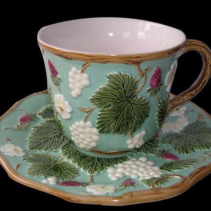 """Formal plates - Turquoise breakfast cup and saucer """"George Sand à Nohant"""" collection - AU BAIN MARIE"""